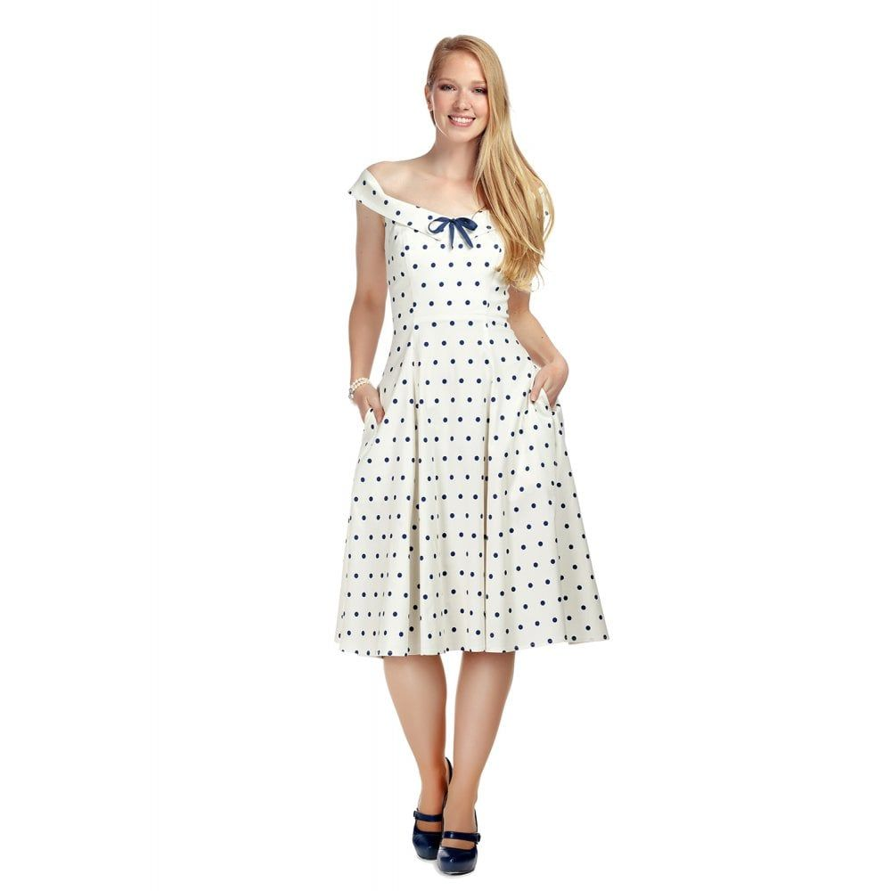 Collectif Mainline Virginia White / Navy Blue Polka Dot Vintage Style Swing