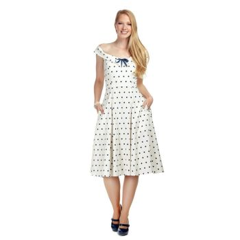 Collectif Mainline Virginia White & Navy Blue Polka Dot Vintage Style Swing Dress