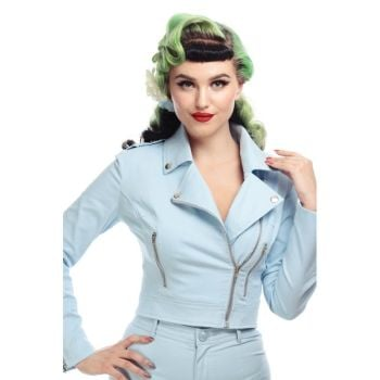 Collectif Mainline Outlaw Plain Pastel Blue 50s Vintage Retro Style Biker Jacket