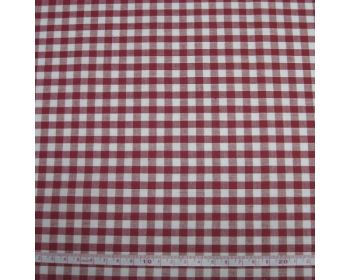 Polycotton Fabric Red 1/4 Gingham Check 44 inch By The Metre