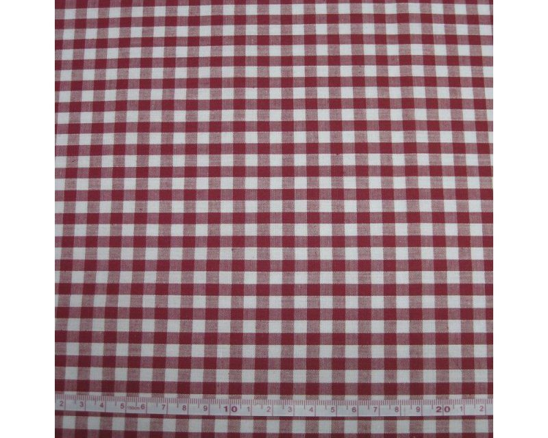 Polycotton Red 1/4 Gingham Check 44 inch By The Metre