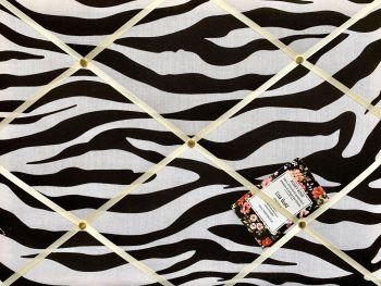 Custom Handmade Bespoke Fabric Pin / Memo / Notice / Photo Cork Memo Board With Animal Zebra Print With Your Choice of Sizes & Ribbons