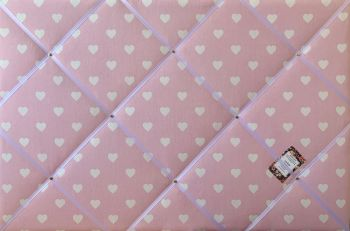 Custom Handmade Bespoke Fabric Pin / Memo / Notice / Photo Cork Memo Board With Pale Pink & White Heart With Your Choice of Sizes & Ribbons