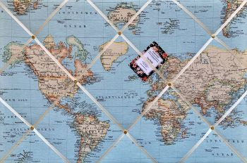 Custom Handmade Bespoke Fabric Pin / Memo / Notice / Photo Cork Memo Board With Blue Atlas World Map Globe With Your Choice of Sizes & Ribbons