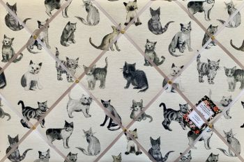 Custom Handmade Bespoke Fabric Pin / Memo / Notice / Photo Cork Memo Board With Prestigious Cool Cats With Your Choice of Sizes & Ribbons