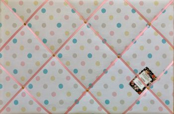 Custom Handmade Bespoke Fabric Pin / Memo / Notice / Photo Cork Memo Board With Cath Kidston Multicolour Spotty Dotty With Your Choice of Sizes & Ribb