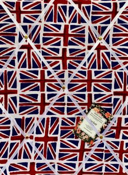 Custom Handmade Bespoke Fabric Pin / Memo / Notice / Photo Cork Memo Board With Union Jack England Flag With Your Choice of Sizes & Ribbons