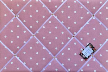 Custom Handmade Bespoke Fabric Pin Memo Notice Photo Cork Memo Board With Clarke & Clarke Rose Pink Dotty Spot With Your Choice of Sizes & Ribbons