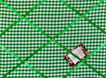 Custom Handmade Bespoke Fabric Pin / Memo / Notice / Photo Cork Memo Board With Green & White Gingham Fabric With Your Choice of Sizes & Ribbons