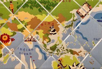 Custom Handmade Bespoke Fabric Pin / Memo / Notice / Photo Cork Memo Board With Prestigious Blue Animal Atlas Map Globe With Your Choice of Sizes & Ri