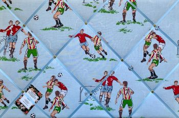 Custom Handmade Bespoke Fabric Pin / Memo / Notice / Photo Cork Memo Board With Cath Kidston Football Soccer Footie With Your Choice of Sizes & Ribbon