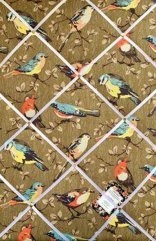 Custom Handmade Bespoke Fabric Pin / Memo / Notice / Photo Cork Memo Board With Cath Kidston Garden Bird With Your Choice of Sizes & Ribbons