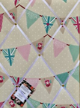 Custom Handmade Bespoke Fabric Pin / Memo / Notice / Photo Cork Memo Board With Fryetts Pink Union Jack Bunting With Your Choice of Sizes & Ribbons