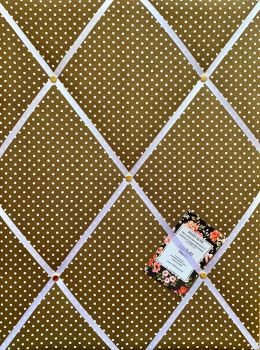Custom Handmade Bespoke Fabric Pin / Memo / Notice / Photo Cork Memo Board With Brown & White Polka Dot With Your Choice of Sizes & Ribbons