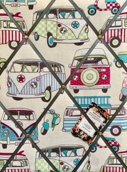 Custom Handmade Bespoke Fabric Pin / Memo / Notice / Photo Cork Memo Board With Camper Vans VW Hippy Retro With Your Choice of Sizes & Ribbons