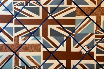 Custom Handmade Bespoke Fabric Pin Memo Notice Photo Cork Memo Board With Fryetts Union Jack England Flag With Your Choice of Sizes & Ribbons