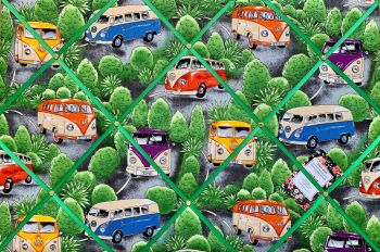 Custom Handmade Bespoke Fabric Pin / Memo / Notice / Photo Cork Memo Board With Camper Vans VW Green Bush With Your Choice of Sizes & Ribbons