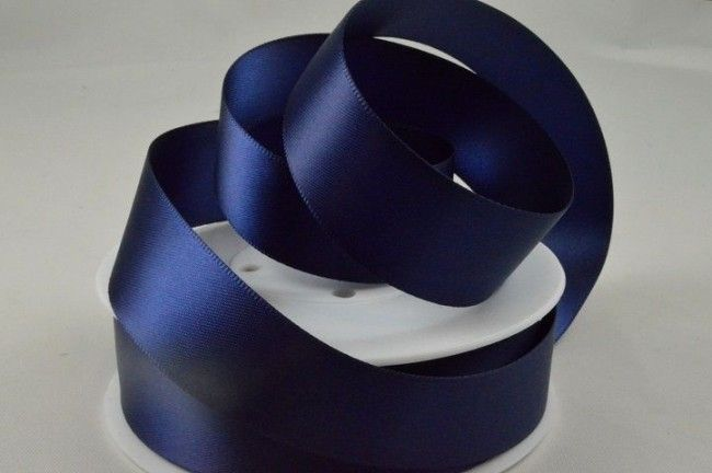 Double Sided Satin Ribbon 10mm 25 Metre Reel Or By The Metre in Navy Blue