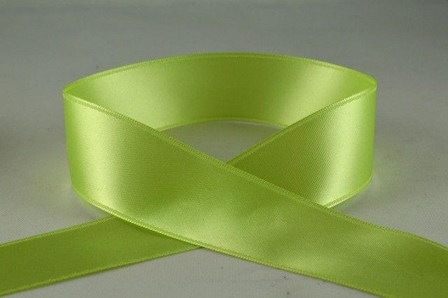 Double Sided Satin Ribbon 7mm 25 Metre Reel Or By The Metre in Light Green