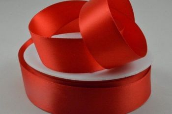 Double Sided Satin Ribbon 10mm 25 Metre Reel Or By The Metre in Red