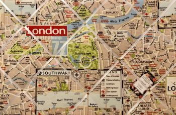 Custom Made Bespoke Fabric Handmade Pin / Memo / Notice / Photo / Cork / Memo Board With London City Map With Your Choice of Sizes & Ribbons