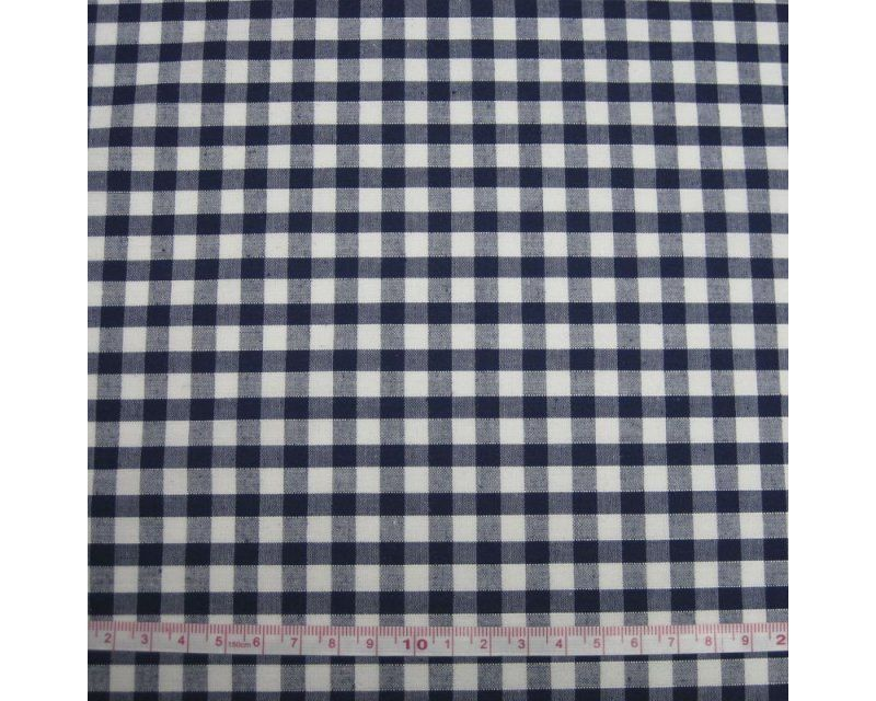 Polycotton Fabric Navy Blue 1/4 Gingham Check 44 inch By The Metre