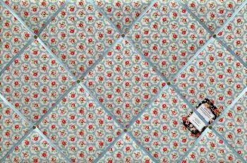 Custom Handmade Bespoke Fabric Pin / Memo / Notice / Photo Cork Memo Board With Cath Kidston Blue Mini Provence Rose Your Choice of Sizes & Ribbons