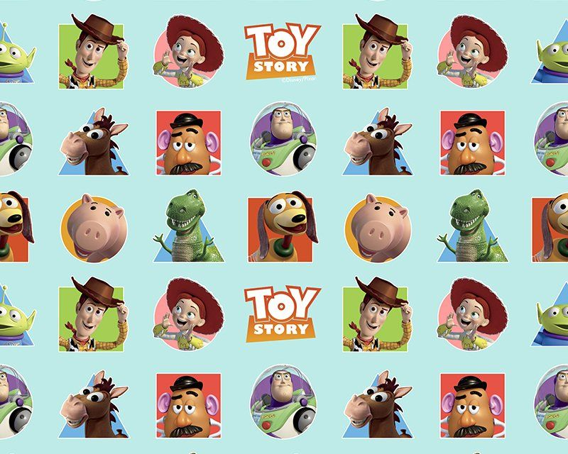 Disney Pixar Toy Story Patches Turquoise Blue Fabric 59 inch By the Metre