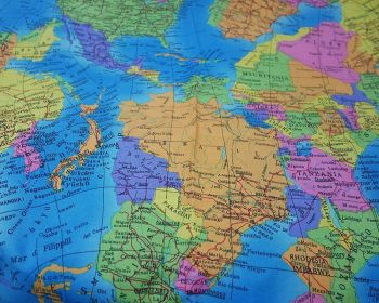 """GLOBE World Map Cotton Fabric Atlas Material 56"""" By the Metre Turquoise Blue"""