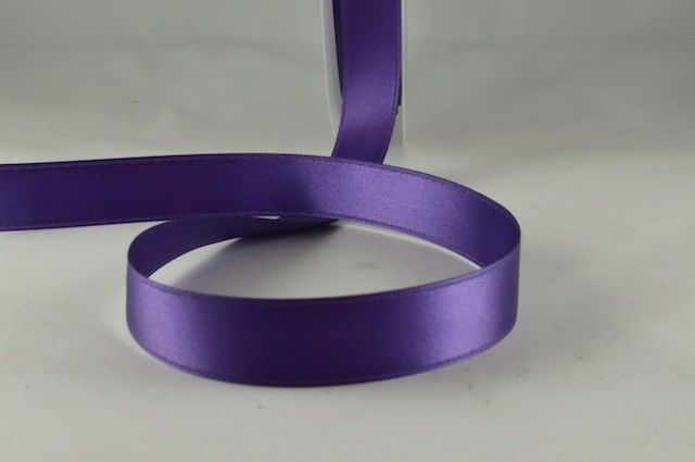 Double Sided Satin Ribbon 7mm 25 Metre Reel Or By The Metre in Purple