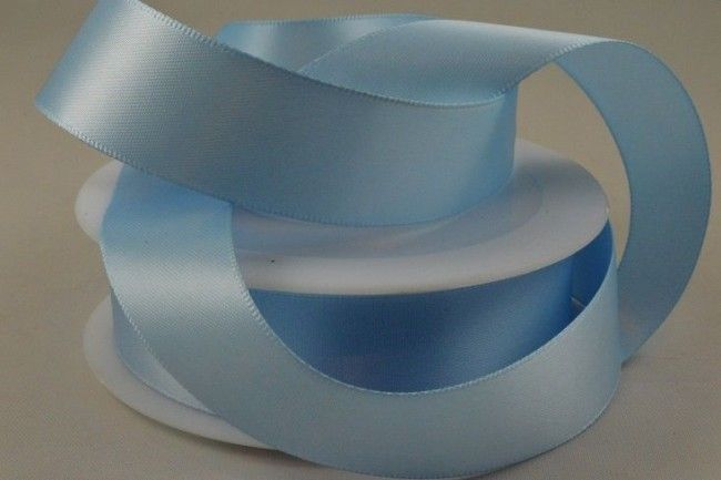 Double Sided Satin Ribbon 7mm 25 Metre Reel Or By The Metre in Light Blue