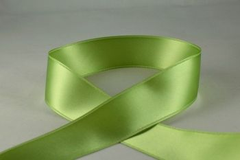 Double Sided Satin Ribbon 10mm 25 Metre Reel Or By The Metre in Pale Green