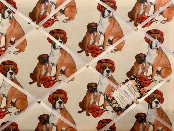 Custom Handmade Bespoke Fabric Pin / Memo / Notice / Photo Cork Memo Board With Boxing Lessons Boxer Dog With Your Choice of Sizes & Ribbons