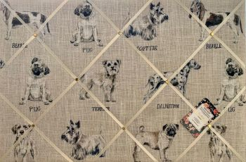 Custom Handmade Bespoke Fabric Pin Notice Photo Cork Memo Board Clarke & Clarke Dog Breeds Pug Beagle Scottie Terrier Dalmatian Choice of Size & Ribbo