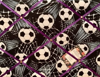 Custom Handmade Bespoke Fabric Pin / Memo / Notice / Photo Cork Memo Board With Timeless Treasures Shooting Footballs Soccer With Your Choice of Sizes