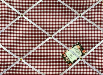 Custom Handmade Bespoke Fabric Pin / Memo / Notice / Photo Cork Memo Board With Red Wine & White Gingham Fabric With Your Choice of Sizes & Ribbons