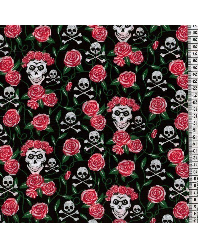 Skull & Crossbones Roses Red Polycotton 44