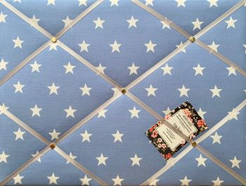 Custom Handmade Bespoke Fabric Pin / Memo / Notice / Photo Cork Memo Board With Pale Blue & White Star With Your Choice of Sizes & Ribbons