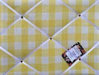 Custom Handmade Bespoke Fabric Pin / Memo / Notice / Photo Cork Memo Board With Yellow & White Gingham Fabric With Your Choice of Sizes & Ribbons