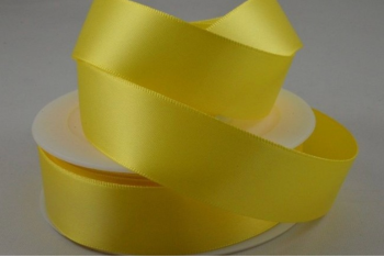 Double Sided Satin Ribbon 10mm 25 Metre Reel Or By The Metre in Light Yellow