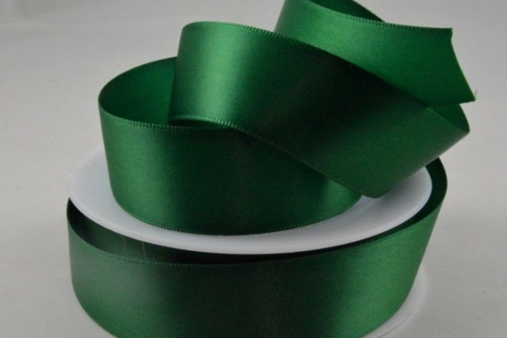 Double Sided Satin Ribbon 7mm 25 Metre Reel Or By The Metre in Emerald Gree