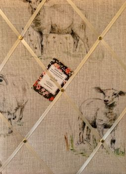 Custom Handmade Bespoke Fabric Pin / Memo / Notice / Photo Cork Memo Board With Clarke & Clarke Sheep & Lambs Farm Countryside Choice of Sizes & Ribbo