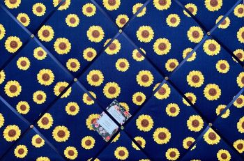 Custom Handmade Bespoke Fabric Pin Memo Notice Photo Cork Memo Board Navy Blue Yellow Sunflower Choice of Ribbon & Size