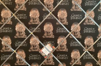 Custom Handmade Bespoke Fabric Pin / Memo / Notice / Photo Cork Memo Board Game of Thrones The Throne Man Black Choice of Ribbon  & Size