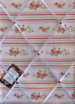 Custom Handmade Bespoke Fabric Pin Memo Notice Photo Cork Memo Board With Clarke & Clarke Beige Pink Floral Stripe With Your Choice of Sizes & Ribbons