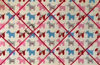 Custom Handmade Bespoke Fabric Pin / Memo / Notice / Photo Cork Memo Board With Clarke & Clarke Scottie Dog Grey With Your Choice of Sizes & Ribbons