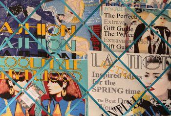Custom Handmade Bespoke Fabric Pin Memo Notice Photo Cork Memo Board With Fashion Magazine Vogue Glamour & Your Choice of Sizes & Ribbons