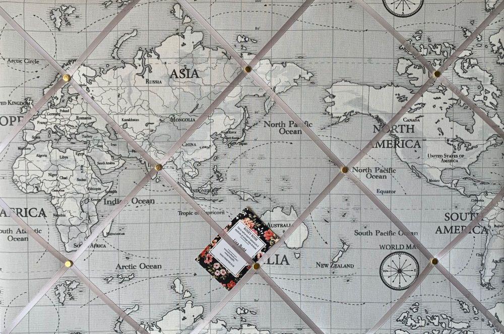 Custom Handmade Bespoke Fabric Pin Memo Notice Photo Cork Memo Board With F