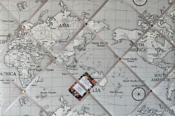 Custom Handmade Bespoke Fabric Pin Memo Notice Photo Cork Memo Board With Fryetts Atlas World Map Globe Grey With Your Choice of Sizes & Ribbon