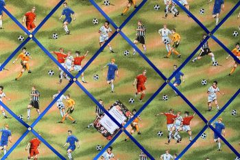 Custom Handmade Bespoke Fabric Pin Memo Notice Photo Cork Memo Board With Green Footballers Football Pitch Soccer Footie Your Choice of Sizes & Ribbon